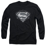 Superman Biker Metal Adult Long Sleeve T-Shirt Black