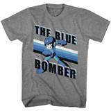 Mega Man Blue Bomber Stripes Graphite Heather Adult T-Shirt