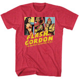 Flash Gordon Group Shot Cherry Heather Adult T-Shirt