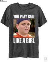 The Sandlot You Play Ball Like A Girl Black Heather Adult T-Shirt