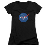 NASA Meatball Logo Junior Women's V-Neck T-Shirt Black