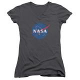 NASA Meatball Logo Distressed Junior Women's V-Neck T-Shirt Charcoal