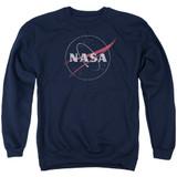 NASA Distressed Logo Adult Crewneck Sweatshirt Navy
