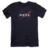 NASA Distressed Logo Premium Adult 30/1 T-Shirt Navy