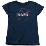 NASA Distressed Logo Women's T-Shirt Navy