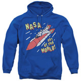 NASA Out Of This World Adult Pullover Hoodie Sweatshirt Royal Blue