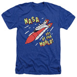 NASA Out Of This World Adult Heather T-Shirt Royal Blue