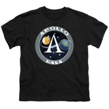 NASA Apollo Mission Patch Youth T-Shirt Black