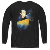 Star Trek Data 25th Youth Long Sleeve T-Shirt Black