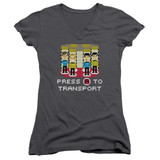 Star Trek Press A To Transport Junior Women's V-Neck T-Shirt Charcoal