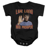 Star Trek Original Live Long And Prosper Baby Onesie T-Shirt Black