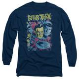 Star Trek Classic Crew Illustrated Adult Long Sleeve T-Shirt Navy