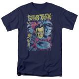 Star Trek Classic Crew Illustrated Adult T-Shirt Navy