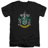 Harry Potter Slytherin Crest Adult V-Neck T-Shirt Black