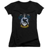Harry Potter Ravenclaw Crest Junior Women's V-Neck T-Shirt  Black
