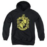 Harry Potter Hufflepuff Crest Youth Pullover Hoodie Sweatshirt Black