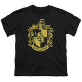 Harry Potter Hufflepuff Crest Youth T-Shirt Black