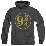 Harry Potter 9 3/4 Adult Heather Hoodie Sweatshirt Black