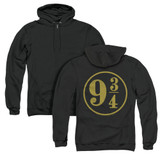 Harry Potter 9 3/4 (Back Print) Adult Zipper Hoodie Sweatshirt Black