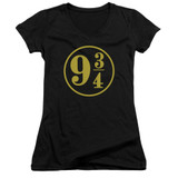 Harry Potter 9 3/4 Junior Women's V-Neck T-Shirt Black