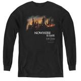 Harry Potter Burning Hogwarts Youth Long Sleeve T-Shirt Black