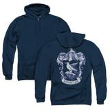 Harry Potter Ravenclaw Crest (Back Print) Adult Zipper Hoodie Sweatshirt Navy