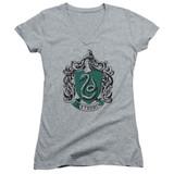 Harry Potter Slytherin Crest Junior Women's V-Neck T-Shirt Athletic Heather