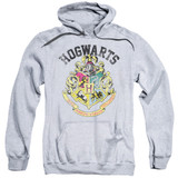 Harry Potter Hogwarts Crest Adult Pullover Hoodie Sweatshirt Athletic Heather