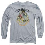 Harry Potter Hogwarts Crest Adult Long Sleeve T-Shirt Athletic Heather