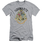 Harry Potter Hogwarts Crest Premium Adult 30/1 T-Shirt Athletic Heather