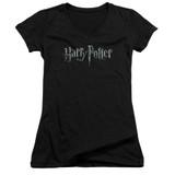 Harry Potter Logo Junior Women's V-Neck T-Shirt Black
