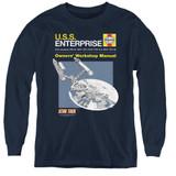 Star Trek Enterprise Manual Youth Long Sleeve T-Shirt Navy