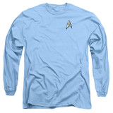 Star Trek Science Uniform Adult Long Sleeve T-Shirt Carolina Blue