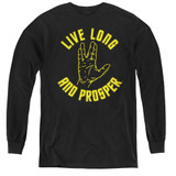 Star Trek Live Long Hand Youth Long Sleeve T-Shirt Black