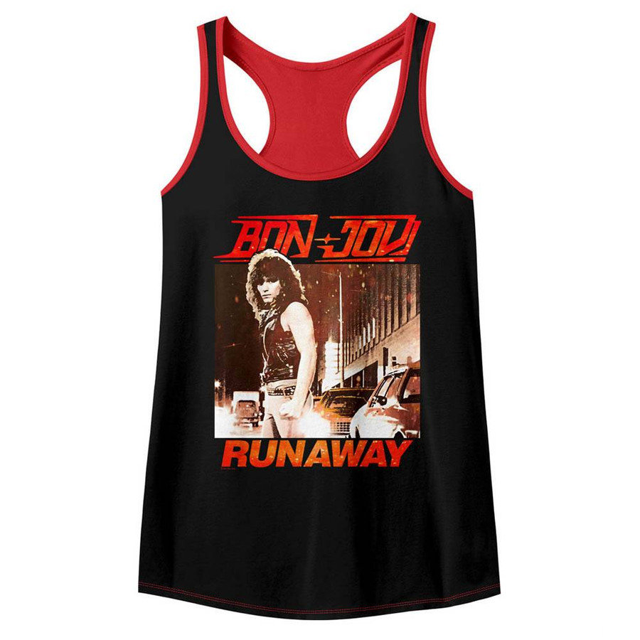 Bon Jovi Runaway Black/Red Junior Women's Colorblock Racerback Tank Top T-Shirt