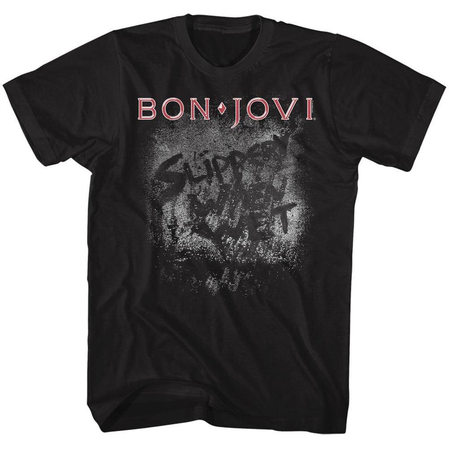 Bon Jovi Slippery When Wet Black Adult T-Shirt