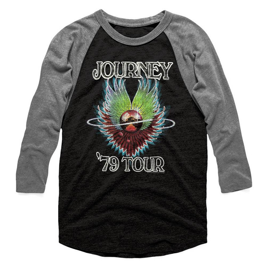 Journey 1979 Vintage Black/Heather Adult Baseball Raglan T-Shirt