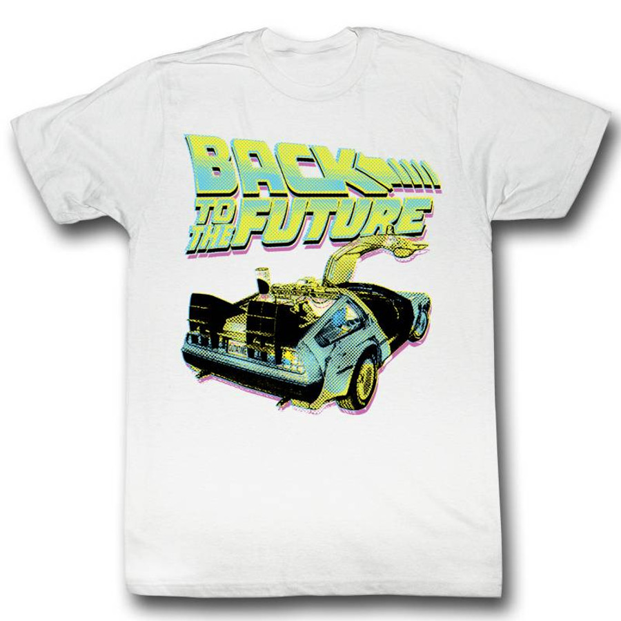Back to the Future Neon White Adult T-Shirt