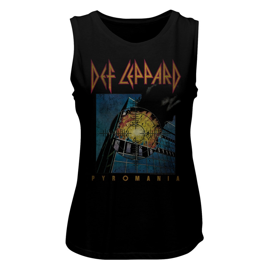 Def Leppard Faded Pyromania Black Women's Muscle Tank Top T-Shirt