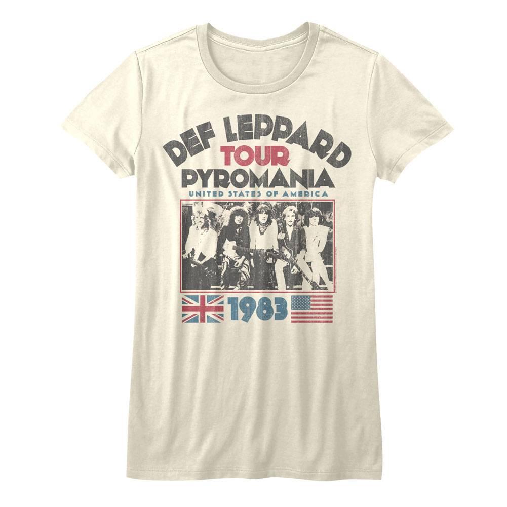3d20e0420 Def Leppard Pyromania Tour Natural Junior Women's T-Shirt