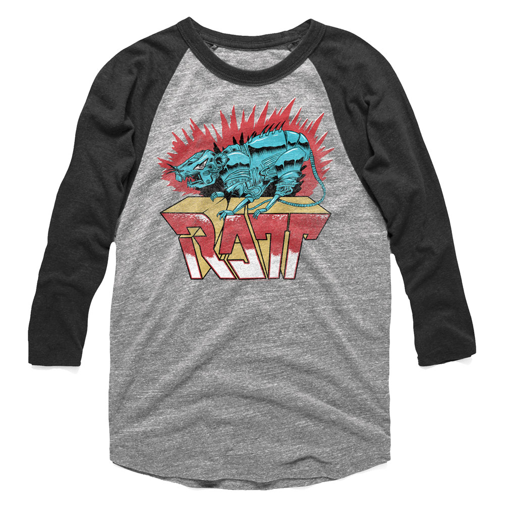 2350ad802 Ratt Roboratt Gray Heather/Vintage Smoke Adult 3/4 Sleeve Raglan T-Shirt