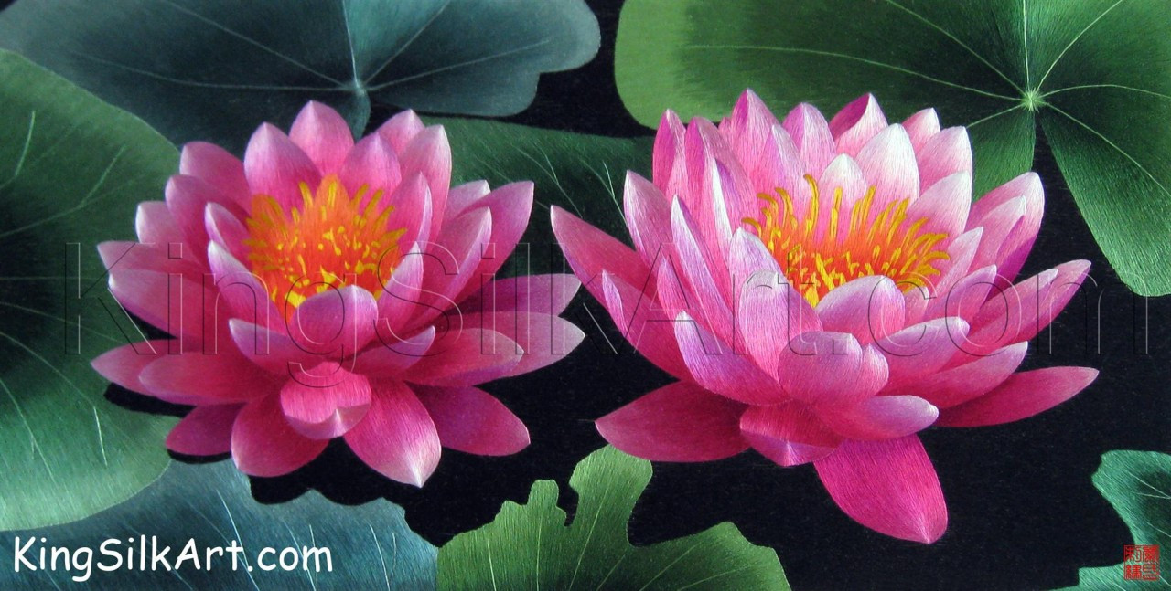 King Silk Art Flower Pair Of Pink Lotus Blossoms Water Lily 76075