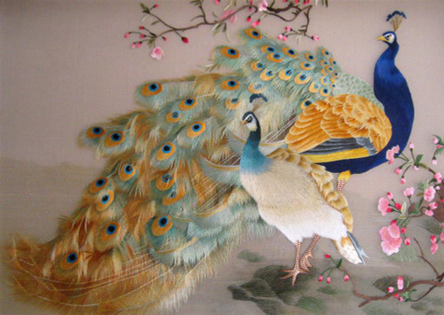 King Silk Art Wildlife Bird Indian Blue Peacock and Peahen 71053