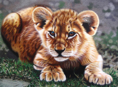King Silk Art Wildlife  African Animal Portrait of a Lion Cub 74006