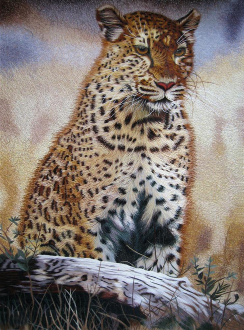 King Silk Art  Wildlife Animal Leopard by a Branch 74029
