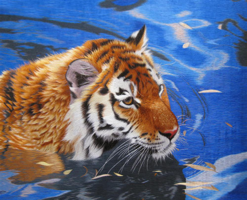 King Silk Art  Wildlife Animal Tiger in the Water 74059