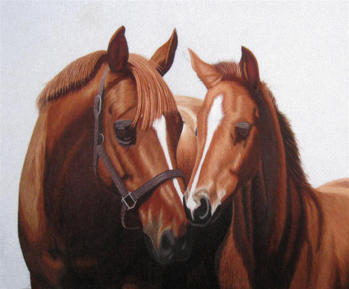 King Silk Art  Wildlife Animal Arabian Mare and Colt 74084