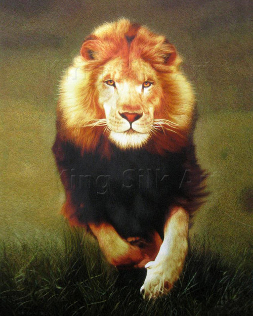 King Silk Art  Wildlife Animal Running Lion large 5080 74102