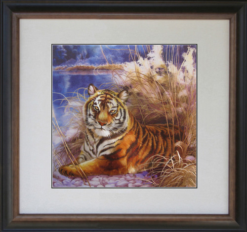 King Silk Art Wildlife Animal Powerful Bengal Tiger Lakeside 74121