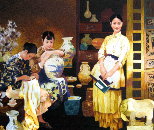 King Silk Art  People Three Sisters in the Afternoon 75028